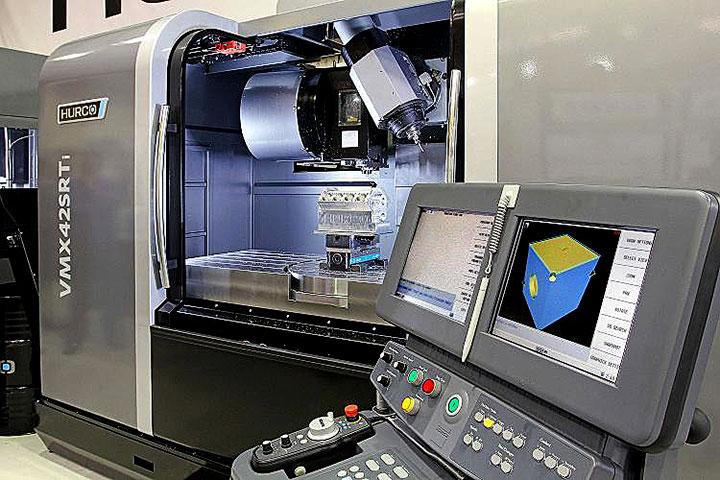 5-Axis Machining Demo VMX42SRTi Engine Block Hurco